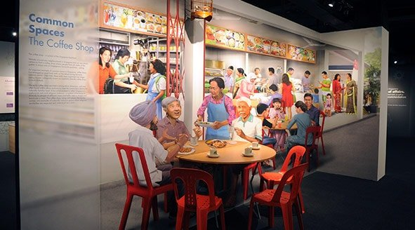 Trick-eye wall mural of a coffee shop scene in Singapore